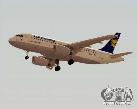 Airbus A319-100 Lufthansa para GTA San Andreas traseira esquerda vista