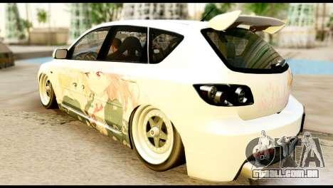 Mazda Speed 3 [Sakura Trick Itasha] para GTA San Andreas esquerda vista