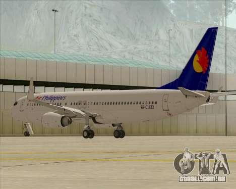 Boeing 737-800 Air Philippines para GTA San Andreas vista interior