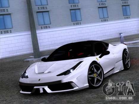 Ferrari 458 Special para GTA San Andreas traseira esquerda vista