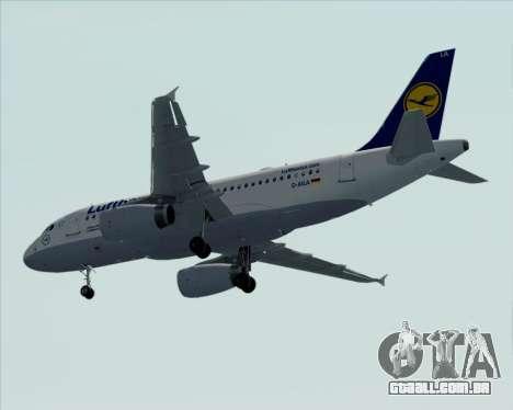Airbus A319-100 Lufthansa para GTA San Andreas vista superior
