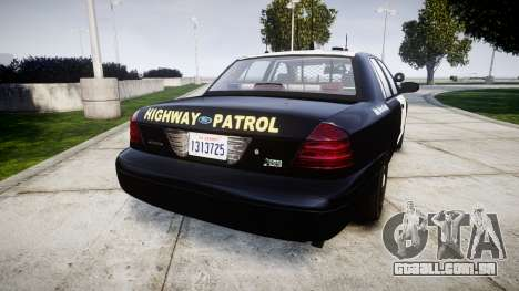 Ford Crown Victoria Highway Patrol [ELS] Slickto para GTA 4 traseira esquerda vista