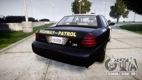 Ford Crown Victoria Highway Patrol [ELS] Slickto para GTA 4 traseira esquerda vista