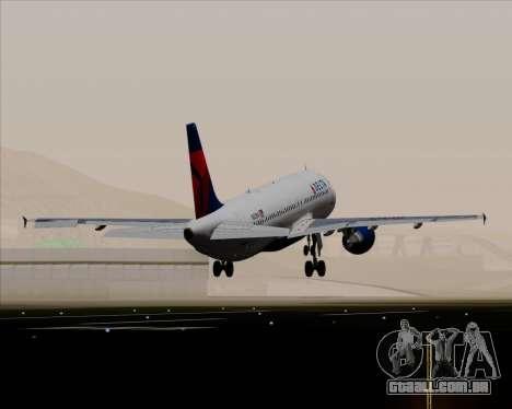 Airbus  A320-200 Delta Airlines para GTA San Andreas vista superior