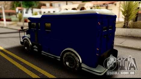GTA 5 Stockade para GTA San Andreas traseira esquerda vista