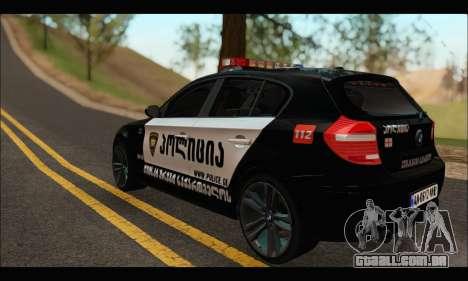 BMW 120i GEO Police para GTA San Andreas traseira esquerda vista