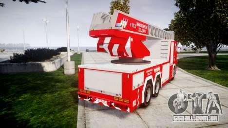 Scania R580 Belgian Fireladder [ELS] para GTA 4 traseira esquerda vista