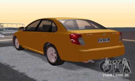 Chevrolet Lacetti para GTA San Andreas traseira esquerda vista