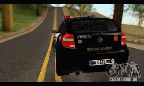 BMW 120i GEO Police para GTA San Andreas vista direita