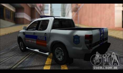 Ford Ranger P.B.A 2015 para GTA San Andreas esquerda vista