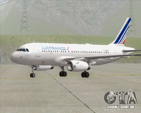Airbus A319-100 Air France para GTA San Andreas traseira esquerda vista