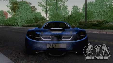 McLaren MP4-12C Gawai v1.5 HQ interior para GTA San Andreas vista traseira
