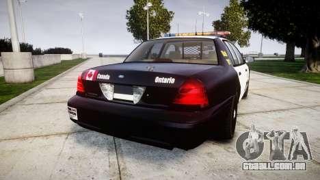 Ford Crown Victoria Ontario Police [ELS] para GTA 4 traseira esquerda vista