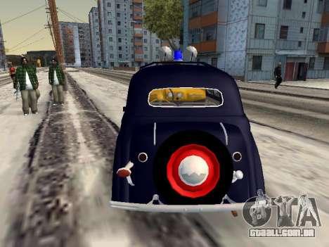 Moskvich 400 Policiais para GTA San Andreas traseira esquerda vista