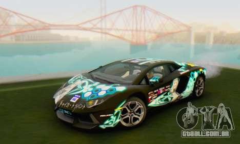 Itasha PJ from Lamborghini Aventador LP700-4 para GTA San Andreas traseira esquerda vista