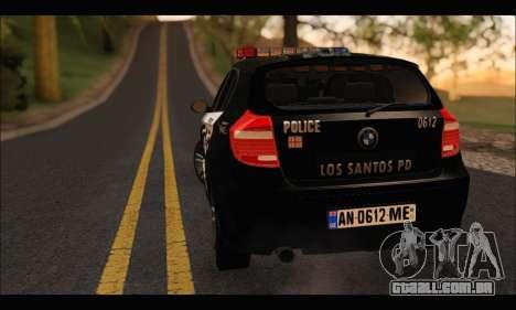 BMW 120i USA Police para GTA San Andreas vista traseira