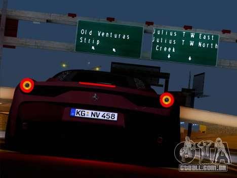 Ferrari 458 Special para GTA San Andreas vista interior
