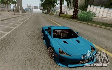 Lexus LF-A 2010 para GTA San Andreas traseira esquerda vista