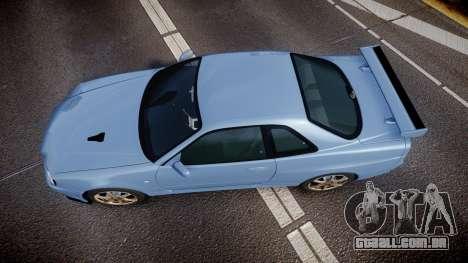 Nissan Skyline R34 GT-R V.specII 2002 para GTA 4 vista direita