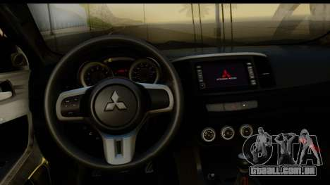 Mitsubishi Lancer X Stock para GTA San Andreas vista traseira