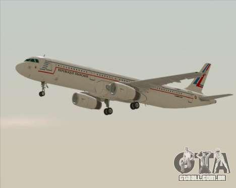 Airbus A321-200 French Government para GTA San Andreas traseira esquerda vista