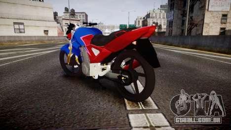 Honda Twister 2014 para GTA 4 traseira esquerda vista