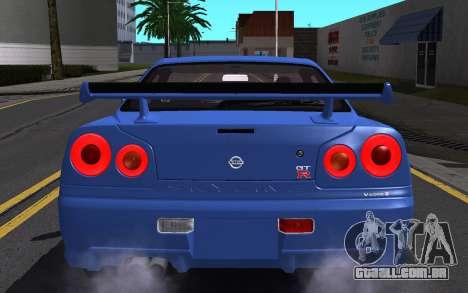 Nissan Skyline GT-R V Spec II 2002 para o motor de GTA San Andreas