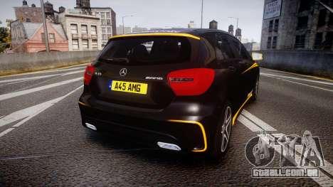 Mersedes-Benz A45 AMG PJs4 para GTA 4 traseira esquerda vista