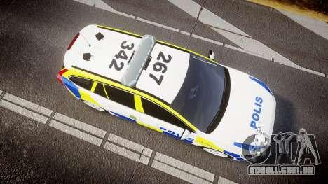 Volvo V60 Swedish Police [ELS] para GTA 4 vista direita