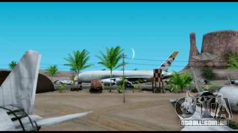Airbus A380-800 Etihad New Livery para GTA San Andreas traseira esquerda vista