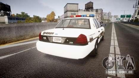 Ford Crown Victoria LCSO [ELS] Edge para GTA 4 traseira esquerda vista