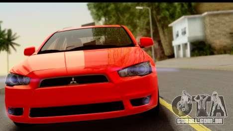 Mitsubishi Lancer X Stock para GTA San Andreas traseira esquerda vista
