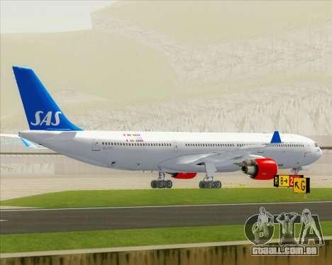 Airbus A330-300 Scandinavian Airlines para GTA San Andreas vista superior