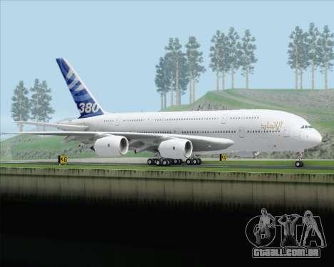Airbus A380-800 F-WWDD Etihad Titles para GTA San Andreas vista direita