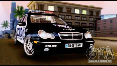 Mercedes-Benz C32 AMG Police para GTA San Andreas esquerda vista