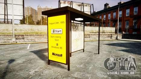 Publicidade Windows 95 em paradas de ônibus para GTA 4