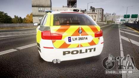 BMW 530d F11 Norwegian Police [ELS] para GTA 4 traseira esquerda vista