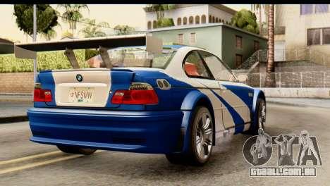 BMW M3 E46 GTR NFS MW para GTA San Andreas esquerda vista