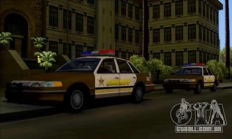 Ford Crown Victoria 1994 Sheriff para vista lateral GTA San Andreas