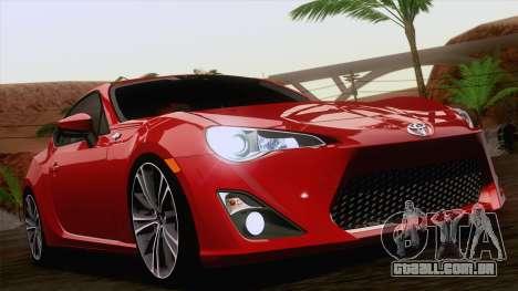 Toyota GT86 (ZN6) 2012 para GTA San Andreas interior