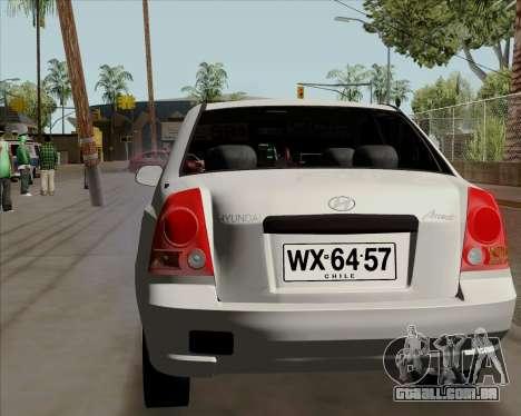 Hyundai Accent 2004 para GTA San Andreas traseira esquerda vista