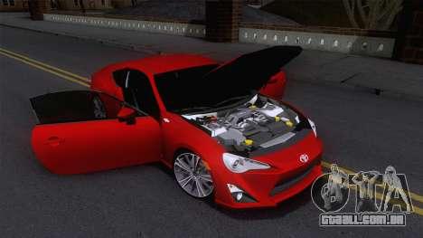 Toyota GT86 (ZN6) 2012 para vista lateral GTA San Andreas