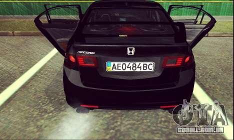 Honda Accord Type S 2008 LT para GTA San Andreas traseira esquerda vista