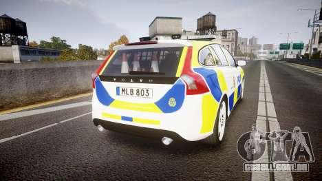 Volvo V60 Swedish Police [ELS] para GTA 4 traseira esquerda vista