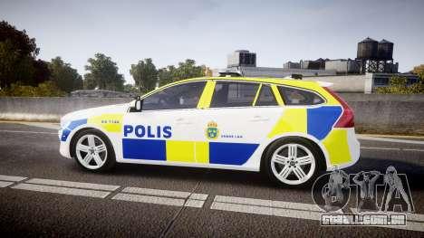 Volvo V60 Swedish Police [ELS] para GTA 4 esquerda vista