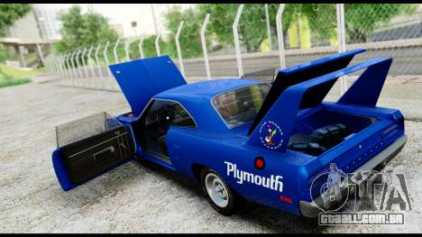 Plymouth Roadrunner Superbird RM23 1970 IVF para vista lateral GTA San Andreas