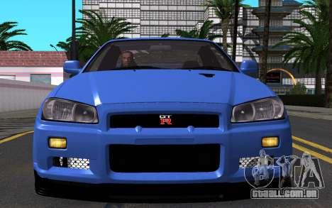 Nissan Skyline GT-R V Spec II 2002 para vista lateral GTA San Andreas