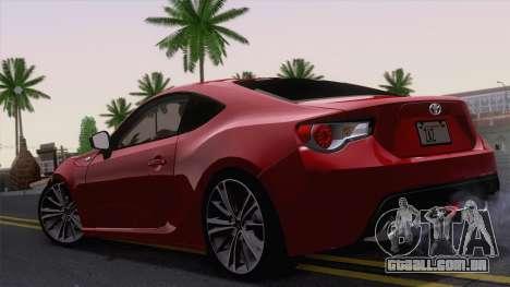 Toyota GT86 (ZN6) 2012 para GTA San Andreas vista direita