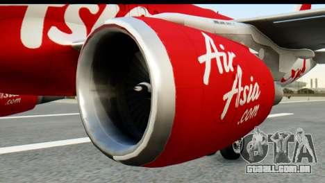 Airbus A320-200 Indonesia AirAsia para GTA San Andreas traseira esquerda vista