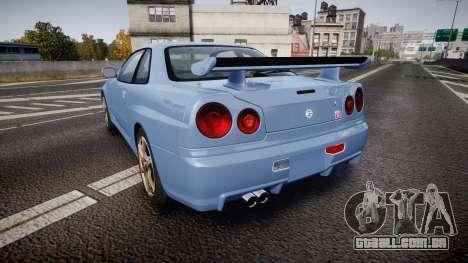 Nissan Skyline R34 GT-R V.specII 2002 para GTA 4 traseira esquerda vista